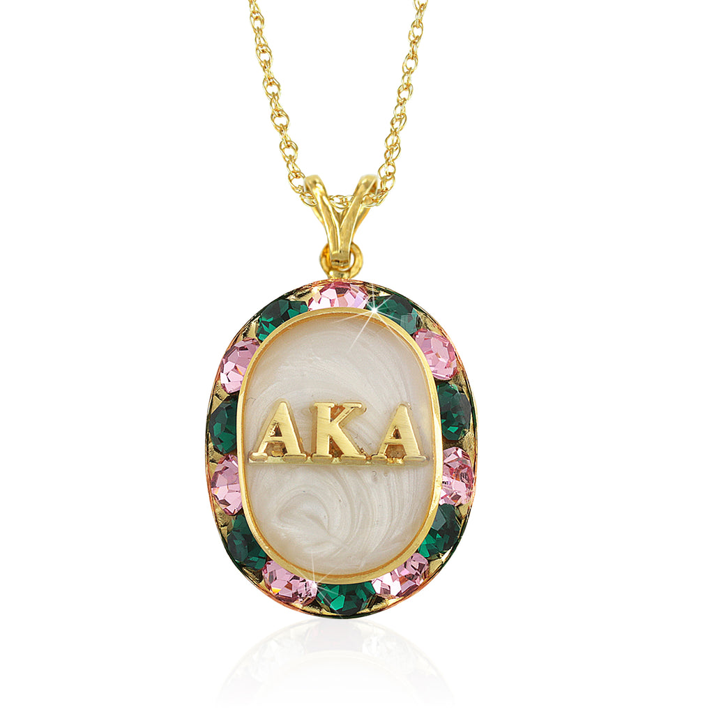 "AKA Swarovski® ""Glittering"" Gold Necklace w/ White interior *Limited Edition*"