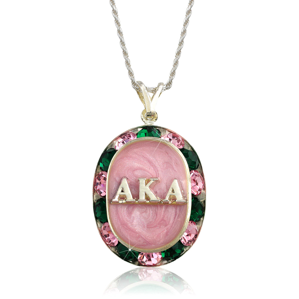 "AKA Swarovski® ""Glittering"" Silver Necklace w/ Pink  *Limited Edition*"