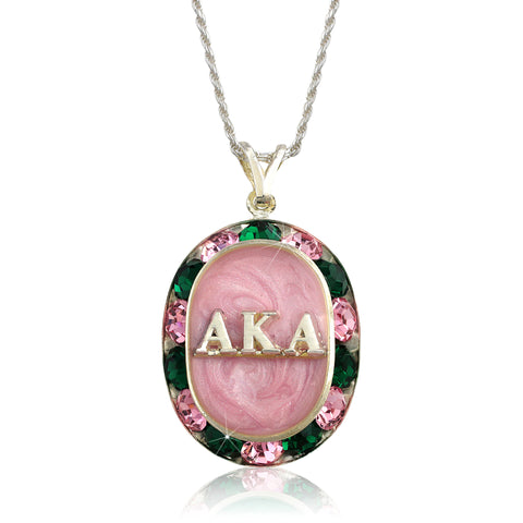 "AKA Swarovski® ""Glittering"" Silver Necklace w/ Pink interior *Limited Edition*"