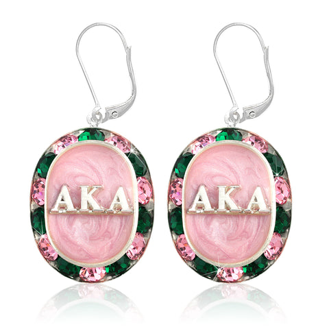 "AKA Swarovski® ""Glittering"" Silver Earrings w/ Pink interior *Limited Edition*"
