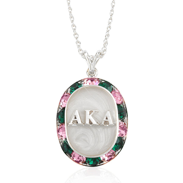 "AKA Swarovski® ""Glittering"" Silver Necklace w/ White interior *Limited Edition*"