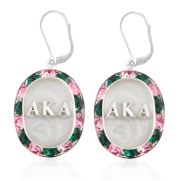 "AKA Swarovski® ""Glittering"" Silver Earrings w/ White interior *Limited Edition*"