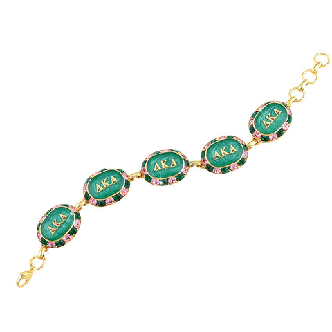 AKA Swarovski® Oval Pink and Green Alternating Gold Bracelet with Emerald Interior