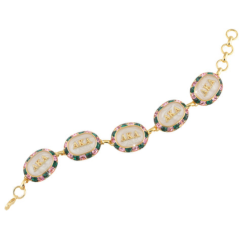 AKA Swarovski® Oval Pink and Green Alternating Gold Bracelet with White Interior