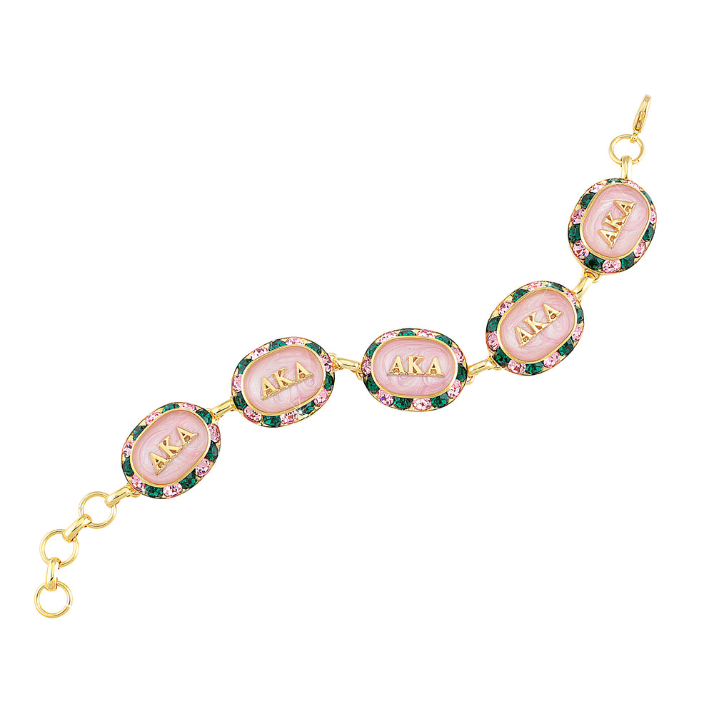 AKA Swarovski® Oval Pink and Green Gold Bracelet with Pink Interior