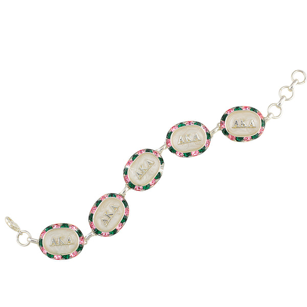 AKA Swarovski® Oval Pink and Green Alternating Silver Bracelet with White Interior