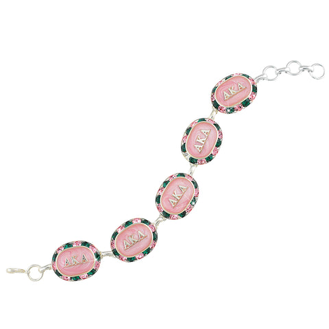 AKA Swarovski® Oval Pink and Green Alternating Silver Bracelet with Pink Interior