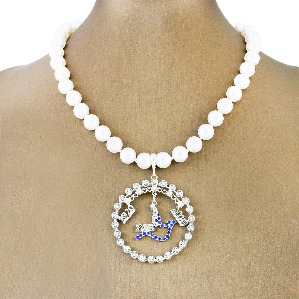 "Zeta Crystal ""Magnificent"" Necklace w/ Pearls"