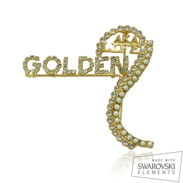 "AKA Swarovski® Golden Soror "" Auspicious"" Pin Customized with Name"