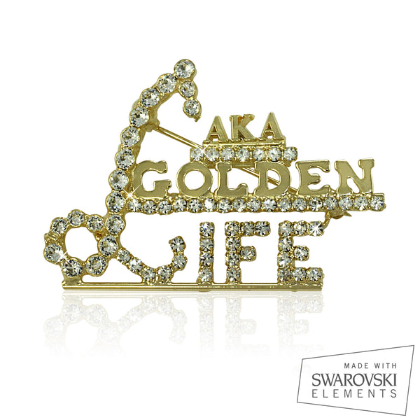 "AKA Swarovski® Golden Soror "" Life Exquisite"" Pin"