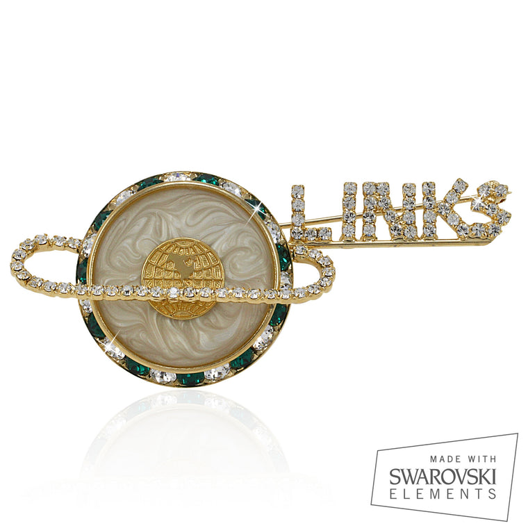 Links Swarovski® Floating Gold and White Pin