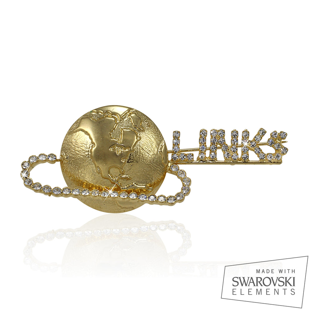 Links Swarovski® Globe Gold Pin