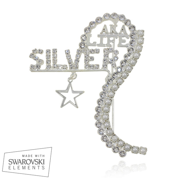 "AKA Swarovski® Silver Soror "" Auspicious"" Pin Customized with Name"