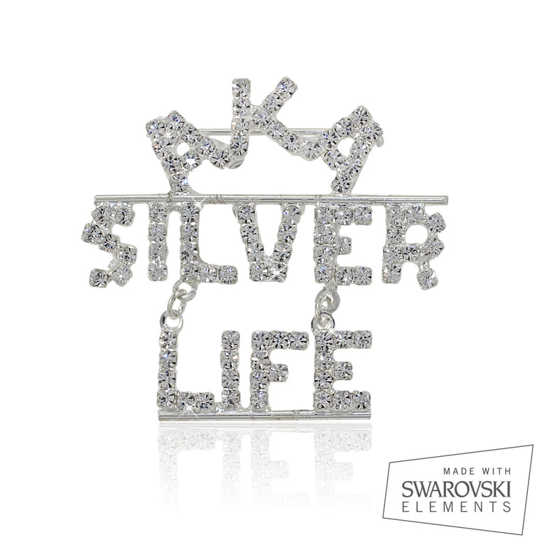 AKA Swarovski® Silver Star Life Crystallized Encapsulated  Pin