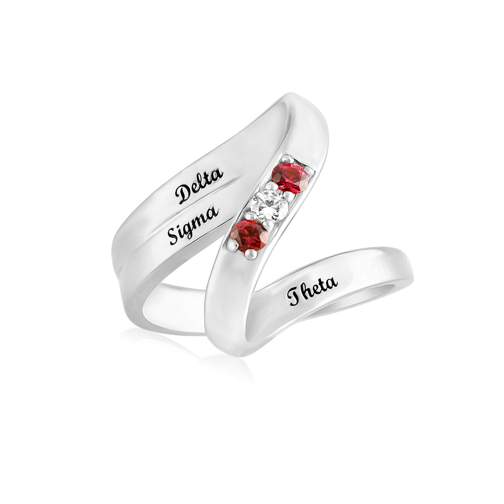 "Delta Sigma Theta Sterling Silver ""Elegance"" Ring"