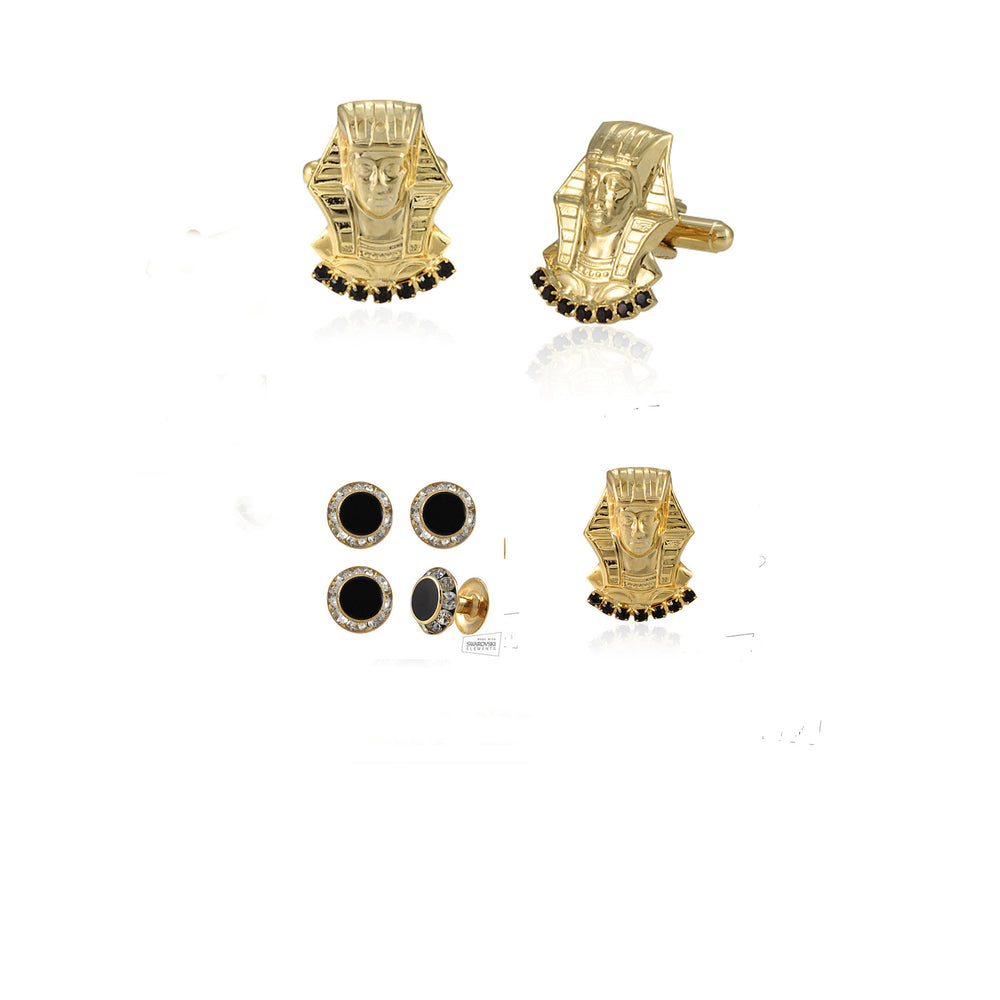 "Alpha Phi Alpha Swarovski® Gold Custom Cufflinks, Lapel and Studs ""Royal"" Gift Set *Limited Edition*"