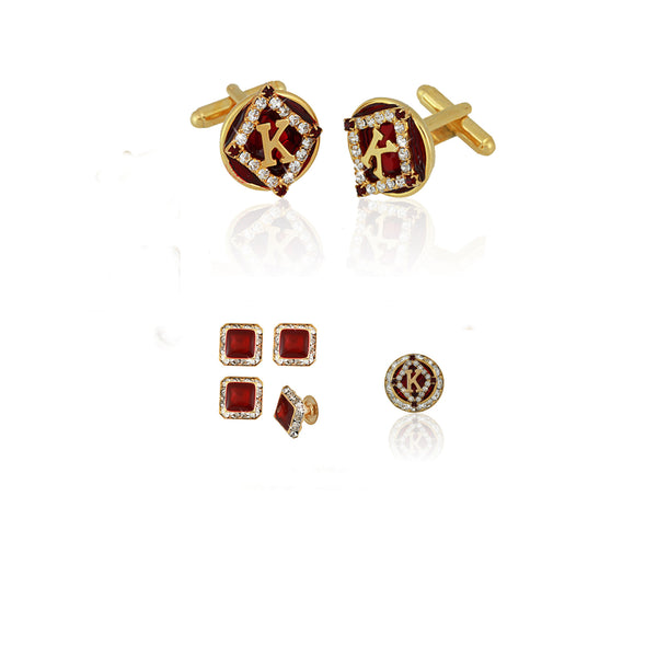 "Kappa Alpha Psi Swarovski® Custom Cufflinks, Lapel and Studs ""Regalia Two"" Gift Set *Limited Edition*"
