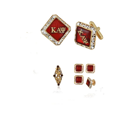 "Kappa Alpha Psi Swarovski® Custom Cufflinks, Lapel and Studs ""Charismatic"" Gift Set *Limited Edition*"
