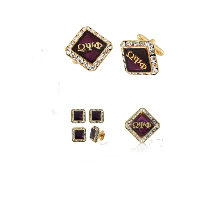 Omega Psi Phi Swarovski® Gold Custom Cufflinks, Lapel and Studs