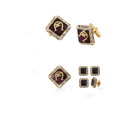 "Omega Psi Phi Swarovski® Gold Custom Cufflinks, Lapel and Studs ""REGAL"" Gift Set *Limited Edition*"