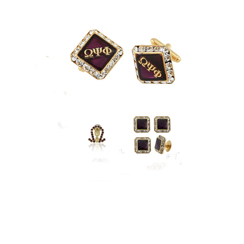 "Omega Psi Phi Swarovski® Gold Custom Cufflinks, Lapel and Studs ""Sophisticated"" Gift Set *Limited Edition*"