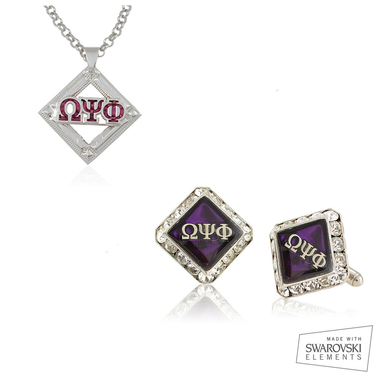 Omega Psi Phi Swarovski® Silver Custom Cufflinks, and Medallion