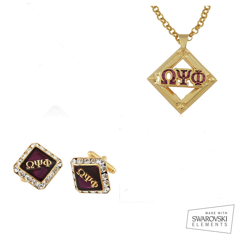 Omega Psi Phi Swarovski® Gold Custom Cufflinks, and Medallion