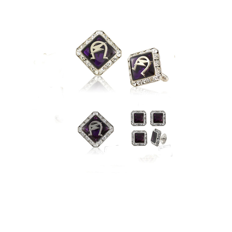 Omega Psi Phi Swarovski® Silver Custom Cufflinks, Lapel and Studs