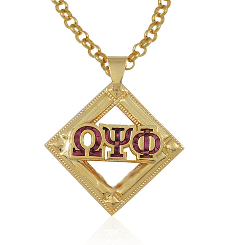 "Omega Psi Phi Swarovski® Crystal Gold ""Royalist"" Medallion"