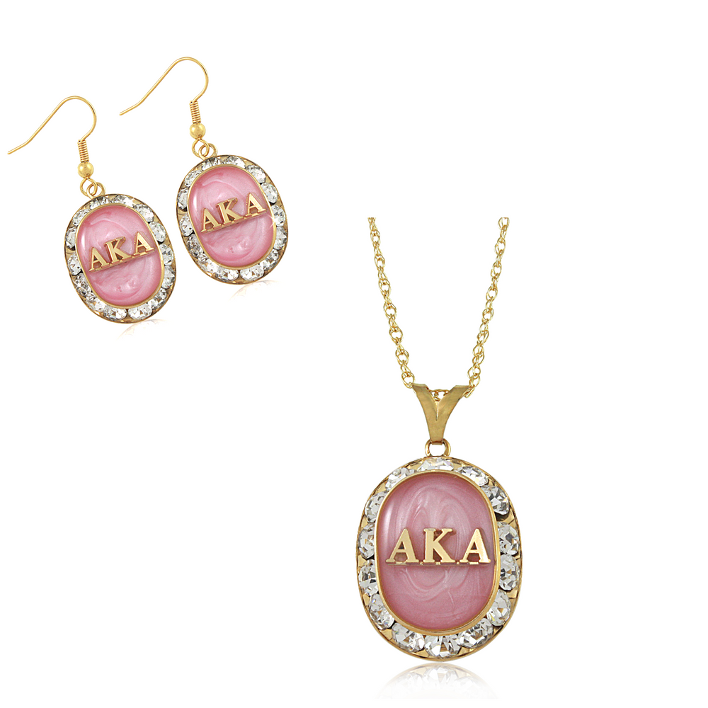 "Alpha Kappa Alpha Swarovski® ""Sparkle & Glow"" Set in Gold *Limited Edition*"
