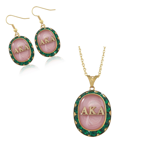 "Alpha Kappa Alpha Swarovski® ""Emerald Luxury"" Set in Gold *Limited Edition*"
