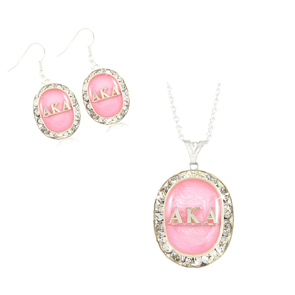 "Alpha Kappa Alpha Swarovski® ""Sparkle & Glow"" Set in Silver *Limited Edition*"