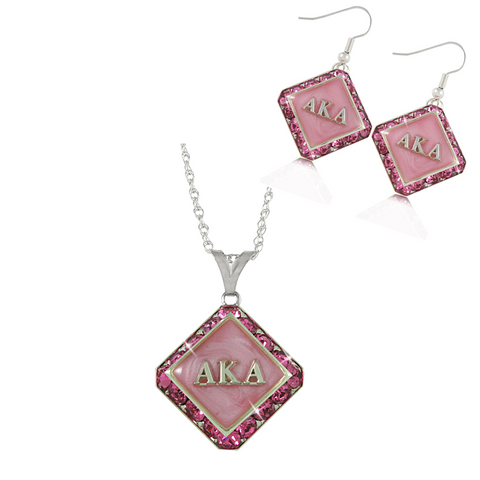 "Alpha Kappa Alpha Swarovski® ""Luxe"" Set in Silver *Limited Edition*"
