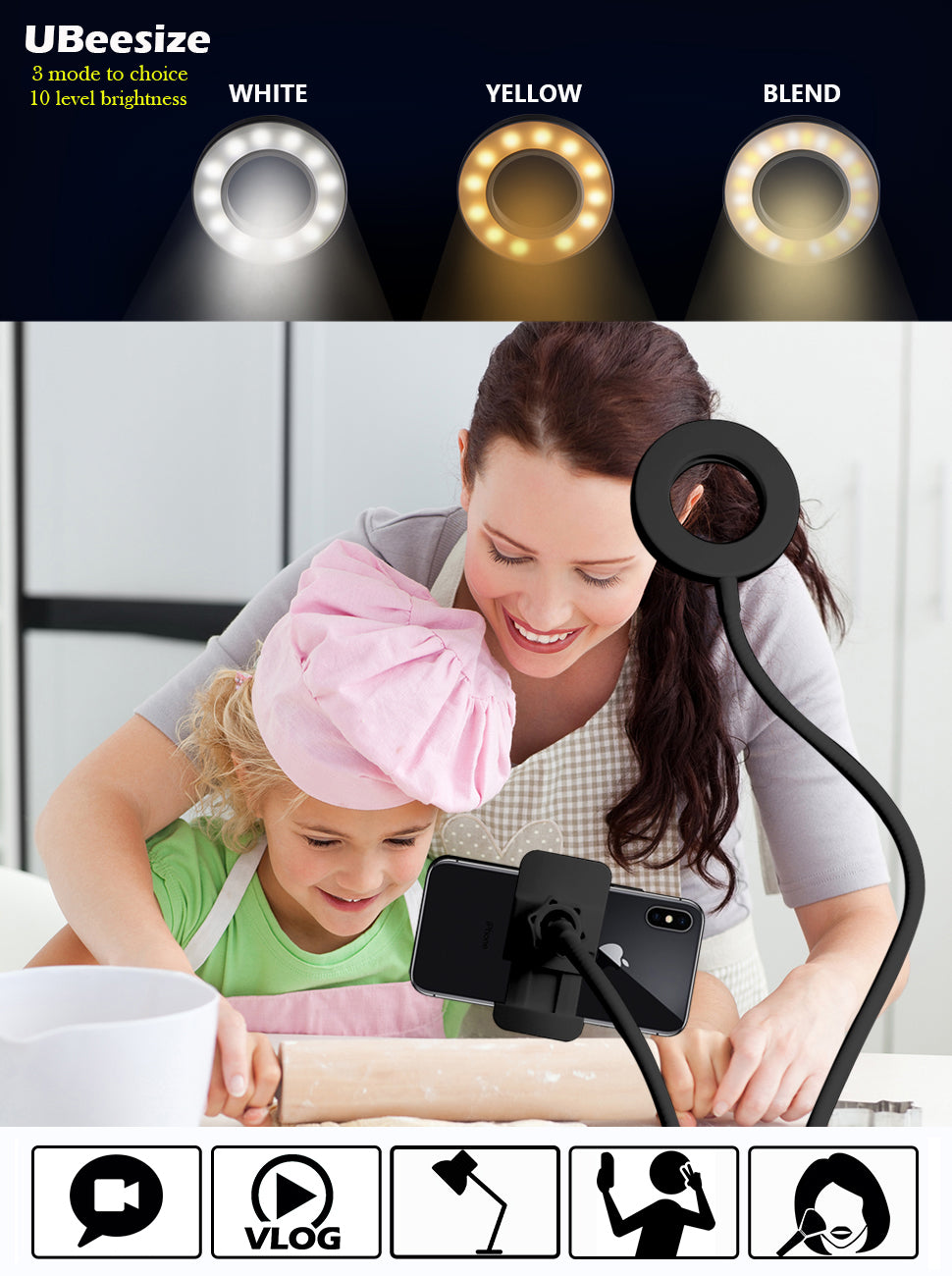 Professional Adjustable LED Ring Light with Mobile Holder (60% Off Sale Ends Today! )