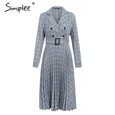 Vintage Pleated Belt Plaid Dress - GRemote