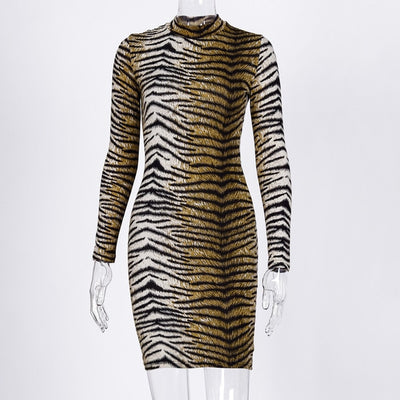 Leopard Print Long Sleeve Sexy Dress - GRemote