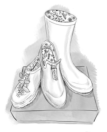 Poddy and Black footwear on a shoe box sketch