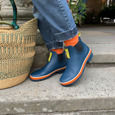 North Sea Blue colour rubber CHelsea boots by Poddy and Black