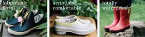 Floral Half-Cut, Comfortable Clog, Waterproof Boot
