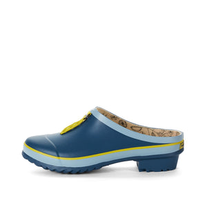 garden clog in blue side view