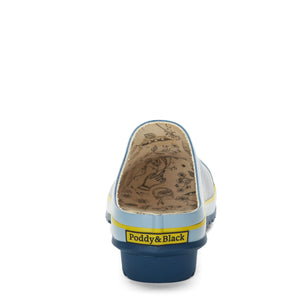 garden clog in blue back heel view showing Poddy and Black logo