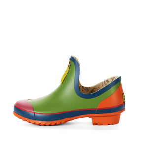 multi coloured ankle welly side view
