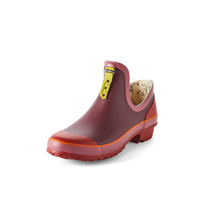 maroon and red gardening shoe