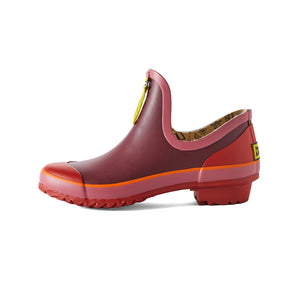 maroon and red gardening shoe side view