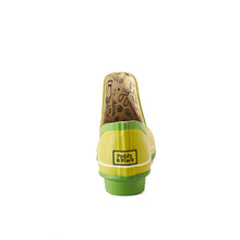 Load image into Gallery viewer, bright green gardening shoe back view showing Poddy and Black logo