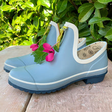 Load image into Gallery viewer, gardening shoe in light blue with pink flower