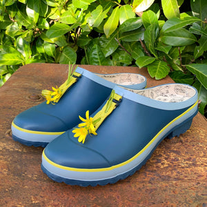 garden clog in blue with yellow flower