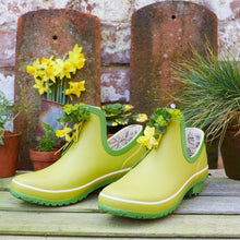 Load image into Gallery viewer, bright green gardening shoe with flowers