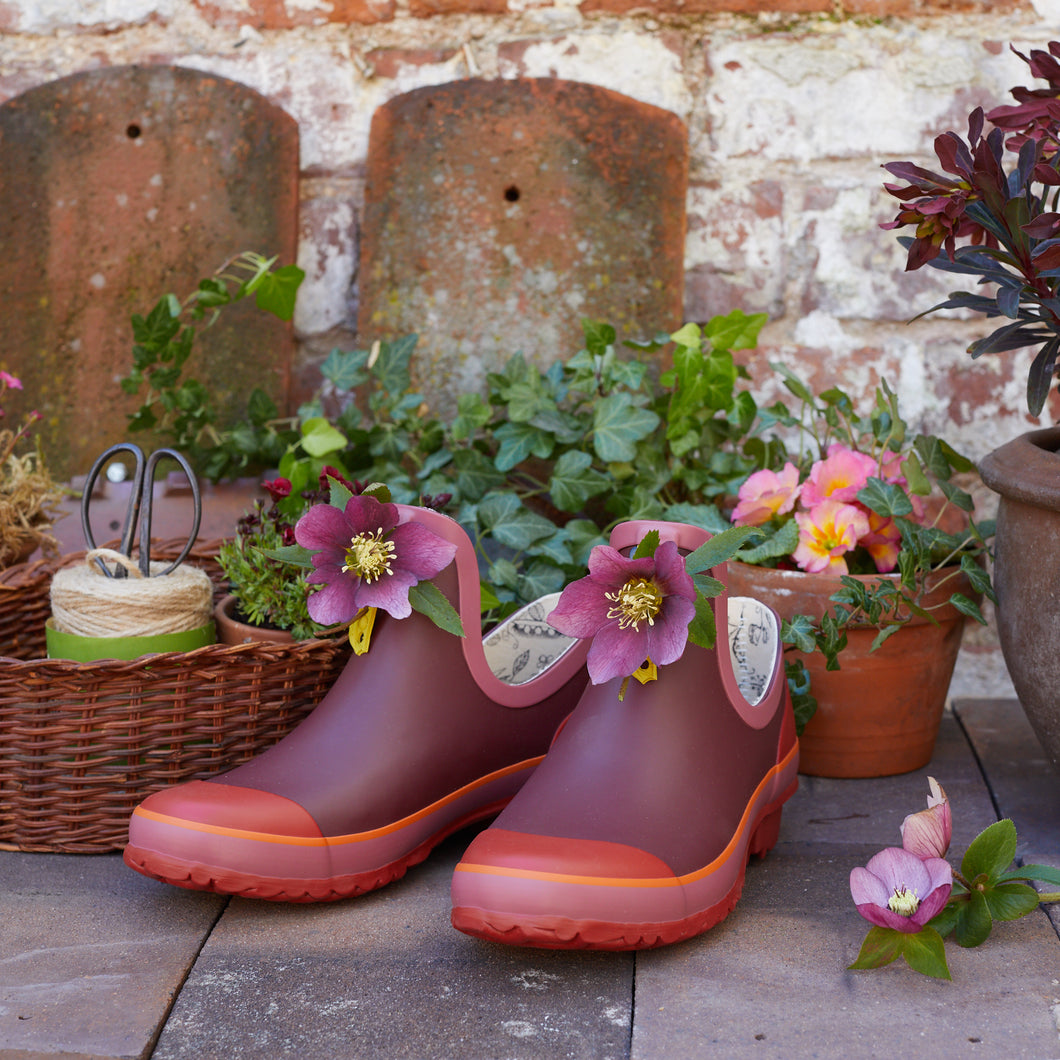 maroon and red gardening shoe with purple flowers