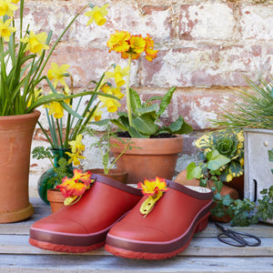 garden clog in red with flowers
